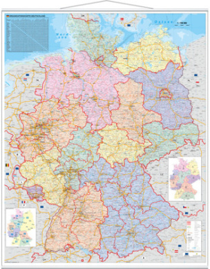 Stiefel Wandkarte Großformat Deutschland, Organisationskarte, mit Metallstäben