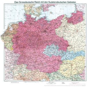 Historische Karte: Deutschland - Das Großdeutsche Reich mit dem Sudetendeutschen Gebieten, 1938 Planokarte