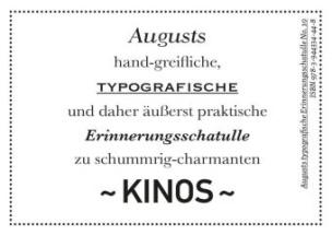 Augusts Erinnerungsschatulle Kinos, m. 40 Minipostkarten