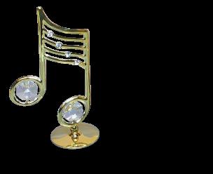 Goldfigur Musiknote mit Swarovski Kristallen