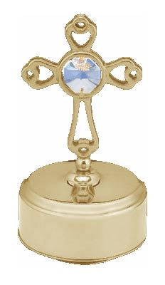 Goldfigur Kreuz mit Spieluhr mit Swarovski Kristallen