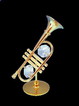 Goldfigur Trompet mit Swarovski Kristallen