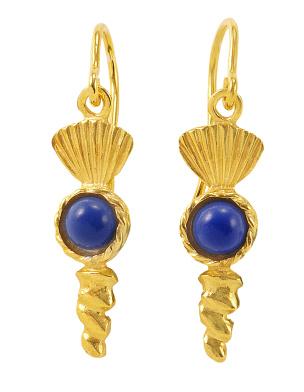 Ohrhänger in Silber 925/- goldplattiert mit jeweils einem Lapislazuli.