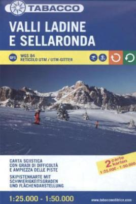 Valli Ladine e Sellaronda, Skipistenkarte. Valli Ladine e Sellaronda, Carta Sciistica