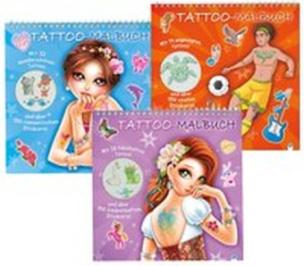 Tattoo-Malbuch in 3 Motiven