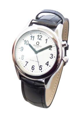 Sprechende Armbanduhr mit Lederband für Damen