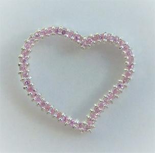 Anhänger Herz 46 rosa Kristallen gefasst in Silber Si925