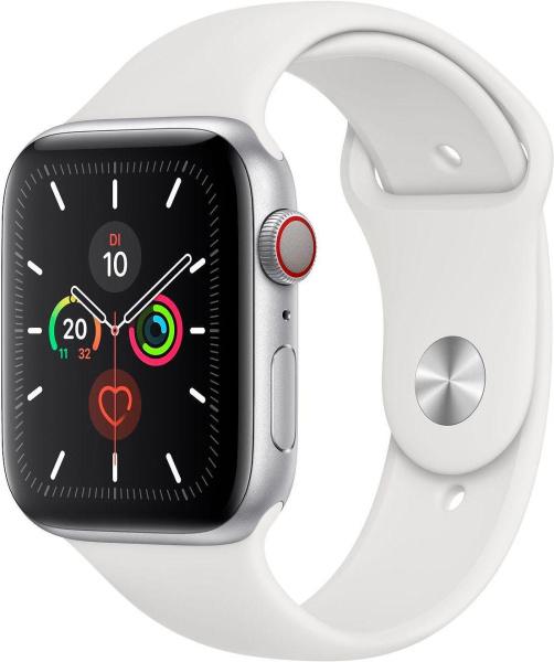 """APPLE Smart Watch """"Watch Series 5"""" (GPS + Cellular, 44 mm, Aluminiumgehäuse, silber/weiß)"""