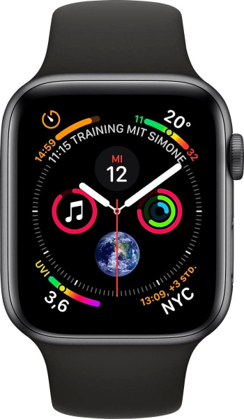 "APPLE Smart Watch ""Watch Series 4"" (GPS, 44 mm Aluminiumgehäuse, Space Grau/Schwarz)"