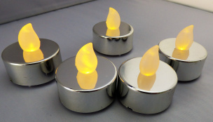 LED-Teelicht 5er-Set silber