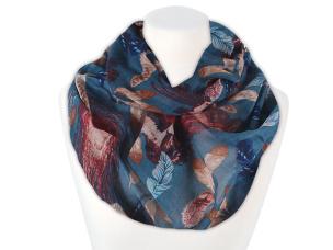 Damen Loop Schal Federn blau
