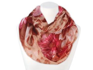 Damen Loop Schal große Blumen rot, beige