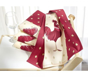 Geschirr-Tücher 2er-Set mit Hahndekor