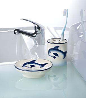 Badezimmer-Set mit Delphindekor 2tlg.