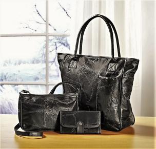 Patchwork-Taschen Set 3tlg. schwarz