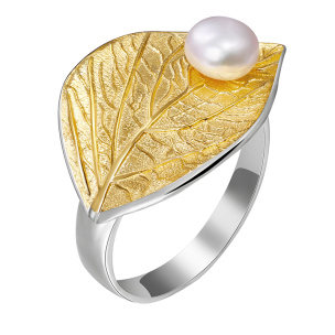 Ring Blatt mit Perle Silber Si925 verstellbar