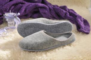 Pantoffeln mit Filz-Sohle (grau) Gr.38