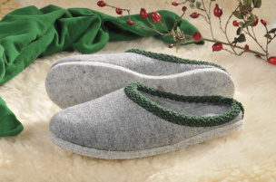 Walker-Pantoffeln mit Filz-Sohle (grau) Gr.37