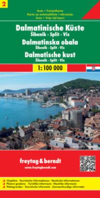 Freytag & Berndt Autokarte Dalmatinische Küste. Dalmatinska obala. Dalmatische kust. Dalmatian Coast. Cote Dalmate. Costa della Dalmazia. Tl.2