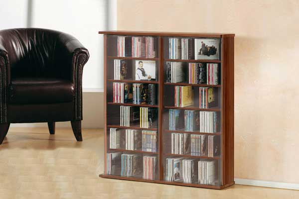 cd dvd regal ronul kern nussbaum 300 cds ohne glast r. Black Bedroom Furniture Sets. Home Design Ideas